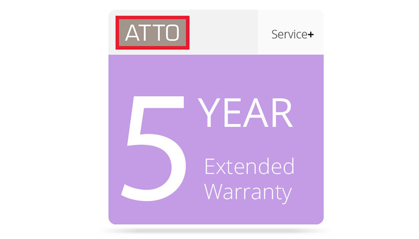 NEW 5 Year Extended Warranty program for the ATTO Fibre Channel Switch and Storage Controller lines