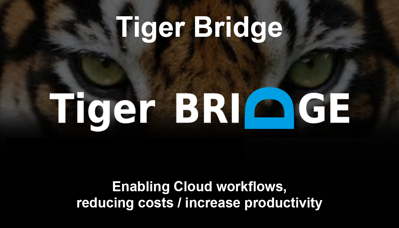 'Tiger Bridge enabling Cloud workflows, reducing costs / increase productivity'​